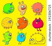 set of funny cartoon fluffy...   Shutterstock .eps vector #192306725