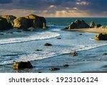 Sun Rays Behind The Sea Stacks...