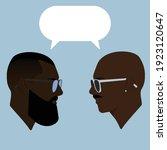 dialogue of two black men. guys.... | Shutterstock .eps vector #1923120647