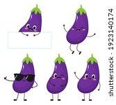 cute happy eggplant character....   Shutterstock .eps vector #1923140174