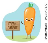 cartoon orange carrot emoji....   Shutterstock .eps vector #1923140177