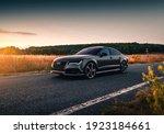 Small photo of Kharkiv, Ukraine - September 2019: Audi RS7 Sportback at beautiful sunset