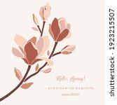 magnolia branch with blossoming ... | Shutterstock .eps vector #1923215507