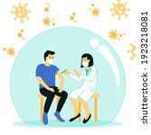 vaccination concept for immune... | Shutterstock .eps vector #1923218081