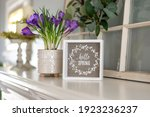 Hello Spring Sign With Purple...