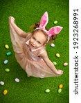 Happy Little Girl With Bunny...