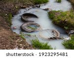 Truck Tires In The River Water. ...