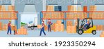 warehouse interior with... | Shutterstock .eps vector #1923350294