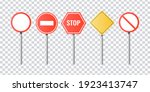 set of realistic road signs.... | Shutterstock .eps vector #1923413747