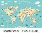 cartoon world map with animals... | Shutterstock . vector #1923418001