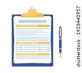 clipboard with document and pen ...   Shutterstock .eps vector #1923440957