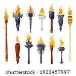 medieval torches with burning... | Shutterstock .eps vector #1923457997
