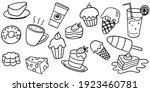 collection set of doodle sweets ... | Shutterstock .eps vector #1923460781