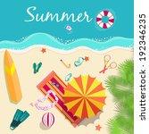summer icon set. flat sand... | Shutterstock .eps vector #192346235