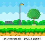 pixel art game scene with trees ...