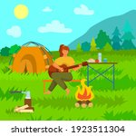 woman is playing the guitar... | Shutterstock .eps vector #1923511304