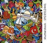 cartoon doodles turkey seamless ... | Shutterstock .eps vector #1923512441