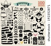 100 hipster icon! wow! all you need! - huge set of vintage hipster labels with heart, arrow, bicycle, phone, sunglasses, mustache, bow, anchors, apple and camera. Vector illustration.
