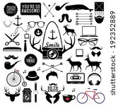 Hipster style infographics elements and icons set for retro design. With bicycle, sunglasses, mustache, bow, anchors, apple and camera. Vector illustration.