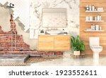3d render of bathroom in... | Shutterstock . vector #1923552611