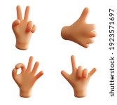 hand gesture cute 3d rendering... | Shutterstock . vector #1923571697