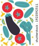 vegetables set in abstract... | Shutterstock .eps vector #1923592511