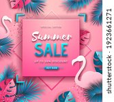 summer sale poster with pink...   Shutterstock .eps vector #1923661271