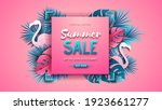 summer sale poster with pink... | Shutterstock .eps vector #1923661277