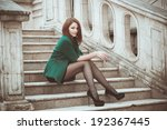portrait of a young woman on... | Shutterstock . vector #192367445