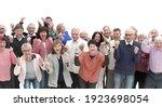 group of senior people raising...   Shutterstock . vector #1923698054