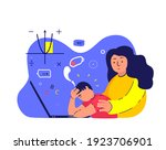 tired busy exhausted pupil boy... | Shutterstock .eps vector #1923706901