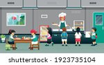 the students took food from the ... | Shutterstock .eps vector #1923735104