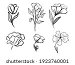 set of abstract flower. hand... | Shutterstock .eps vector #1923760001