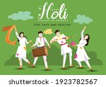 happy holi. cartoon young... | Shutterstock .eps vector #1923782567