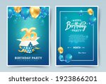 26 th years birthday vector invitation double card. Twenty six years anniversary celebration brochure. Template of invitational for print on blue background