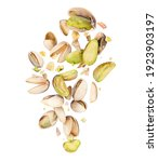 Small photo of Lots of pistachios crushed in the air on white background