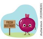 cartoon purple beetroot...   Shutterstock .eps vector #1923908201