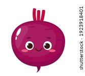 cartoon purple beetroot emoji....   Shutterstock .eps vector #1923918401