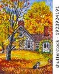 Country Brick House. Autumn...