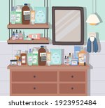 skincare products and mirror in ...   Shutterstock .eps vector #1923952484