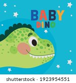 baby dino lettering and one... | Shutterstock .eps vector #1923954551