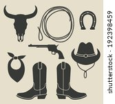 Cowboy Rodeo Set   Vector...