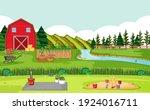 farm scene with red barn in... | Shutterstock .eps vector #1924016711