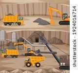 landscape of coal mining scene... | Shutterstock .eps vector #1924016714