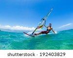 windsurfing  fun in the ocean ...   Shutterstock . vector #192403829