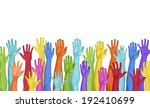 colorful hands raised on white... | Shutterstock . vector #192410699