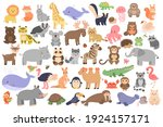 Big Set Of Cute Animals In...