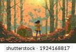 young girl standing in the...   Shutterstock .eps vector #1924168817