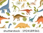 seamless pattern with dinos and ...   Shutterstock .eps vector #1924189361