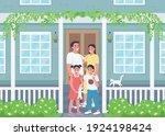happy family posing on house...   Shutterstock .eps vector #1924198424